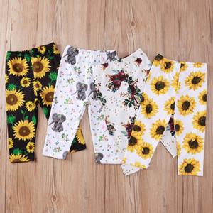 Spring Autumn Baby Boys Girls 0-3T Cotton Sunflower Print long Pants Children Cute Elephant Trousers 4pcs lot