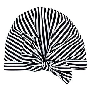 Luxury Shower Cap for Women - Waterproof and Mold Resistant, Reusable Shower Caps (Black and White Stripe)