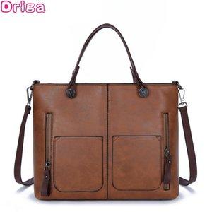 Driga vintage PU leather women shoulder fashion total bag larger size women messenger bag luxury handbags bags designer