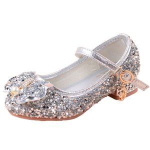 2021 Girls Mary Janes Glitter Shoes Low Heel Princess Flower Bow Wedding Party Dress Sandals for Kids Toddler