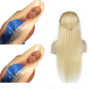 Straight 613# Glueless Full Lace Wigs Virgin Human Hair Wigs with Baby Hair Brazilian Honey Blonde Lace Front Wigs for Black Women