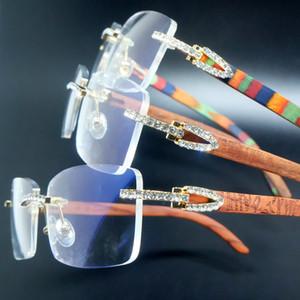 Конструктор Дешевые очки продажа Искусственный алмаз очки, дерево без роскоши, Картер Клайв, солнцезащитные очки с бриллиантами
