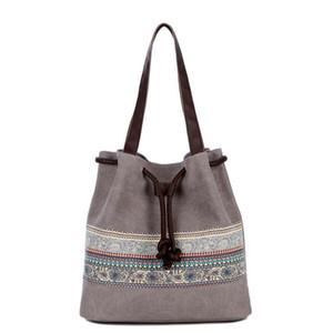 New Canvas Bucket Casual Shoulder Bag Women's Bags Spanish Beach Bag Women Retro String Shopping Handbags Lace Printing