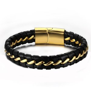 Link, Chain Bracelets Mens Black Leather Hip Hop Rock Bracelet Charm Luxury Gifts For Male Stainless Steel Accessories Jewelry Punk
