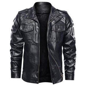 Men's Fur & Faux 2021 Leather Jacket Fashion Leisure Motorcycle PU Plus Size Clothing Coat Stand Collar Slim