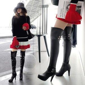 PXELENA Seksi Kadınlar Üzeri Diz Boots Stiletto Yüksek Topuklar Avrupa Toka Nightclub Dans Partisi Tarihi Uyluk Yüksek Boots Lady Ayakkabı