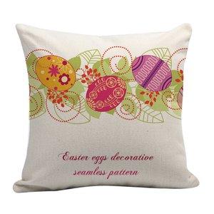 45 * 45 cm Funda de almohada Impresión a un lado Conejito de Pascua Funda de almohada de huevo Decoración del hogar Sofá Funda de almohada personalizada Cubierta de almohada DWF2905
