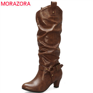 202 hot sale women knee high boots round toe Metal decoration autumn winter boots high heel dress party shoes woman210