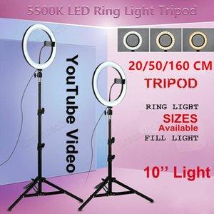 10 بوصة LED حلقة صورة شخصية الضوء عكس الضوء RGB مصباح مع ترايبود التصوير ضوء الكاميرا الهاتف ليوتيوب ماكياج الصور الشخصية للحلقة الإضاءة selfy
