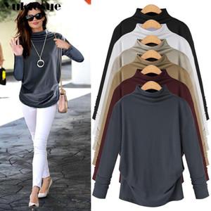 Vintage Kadın Tshirt Üst Turleneck Uzun Kollu Kadın T-shirt T-Shirt Kadınlar Için T Gömlek Kadın Tee Gömlek Tops Artı Boyutu 5XL