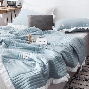 Fashion Solid Color Summer Quilt Stitching Lotus Leaf Edge Nap Blanket Washable Cotton Home Simple Plain Air Conditioning Quilt1