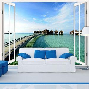 Dropship Custom Living Room Sofa Backdrop Bedroom Wedding Room Wallpaper 3D European Sea Scenery False Window Wallpaper Mural