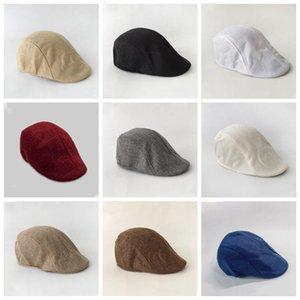 Мужчины Берет Шляпы весна осень британский ретро белье Duck Tongue Cap Сплошной цвет Форвард Hat Повседневная Модные шапки Party Favor EWD2160