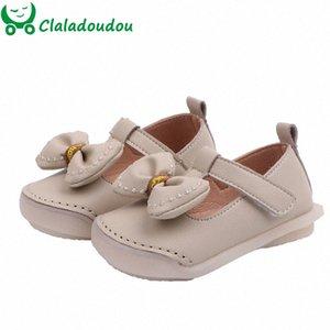 meninas crianças largura dos pés sapatos de couro PU Calçados cinta confortável para meninas infantis borboleta-nó apartamentos Claladoudou 12-14cm tGKP #