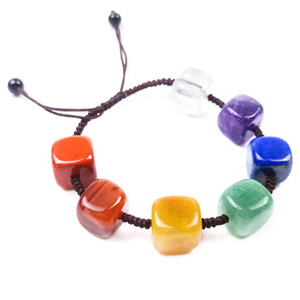 Natural Crystal Stone Agate Bracelet Seven Chakra Square Braided Bracelet Gem Palm Reiki Healing Crystal Gem Yoga Power Stone Bracelet