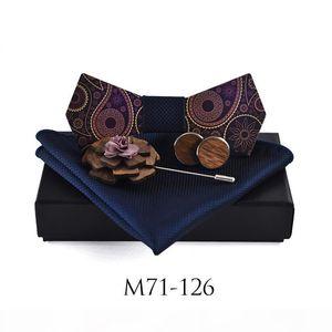 New Design Mens Pocket Square Bow Tie Cufflinks Set Wood Bowties Wedding Business Suit Wooden Bow Ties Hankies