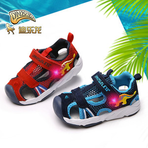 DINOSKULLS Baby Sandals Dinosaur LED light Up Summer Child Boys Girl Beach Shoes Kids For 1 Year Fabric Cut-outs Sandals #23-#26 1005