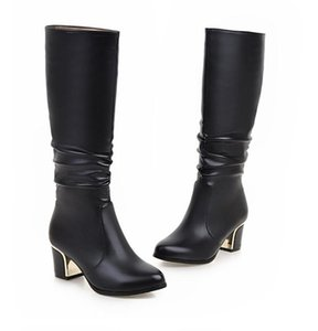 Middle heel high boots large size women's boots thick heel soft leather women's boots large size sleeve round head women
