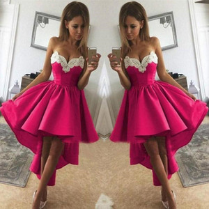 Fuchsia High Low Prom Dresses 2021 Sweetheart Corset Satin Short Homecoming Party Dress Graduation Gowns vestidos de fiesta