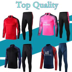 2020 2021 Futbol Eğitim Takım Elbise MBappe Uzun Kollu Kazak 20/21 Maillot De Foot Di Maria Verratt Futbol Koşu Ceket Eşofman
