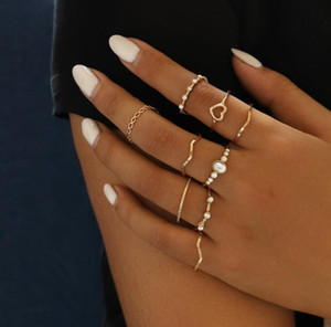 New simple love ring in Europe and America Geometric wavy 9-piece niche ring set best gift