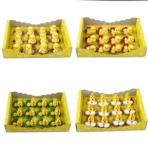 Simulación Pascua Polluelo Amarillo Mini Encantador Artificial Decoración de Hogar Juguetes Peluche Pulse Pascua Regalo para niños 12pcs / Set GWA3515