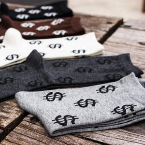 2020 1 пара Термоноски Winter Warm Смешной доллар Печать Мужчины Причинная сгущает носки Crew Спортивная Хлопок Белый Черный Новый