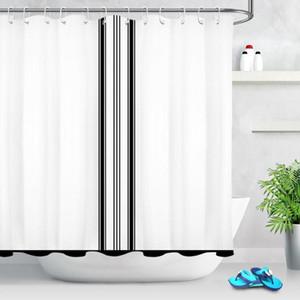Rideaux de douche Stripe Noir Rideau blanc Rideau moderne Décorations de salle de bains Simple Design Tissu en polyester imperméable avec crochets