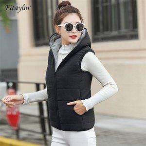 Fitaylor Yeni Sonbahar Kış Kadın Yelek Pamuk Kapüşonlu Rahat Ince Yelek Kadın Kolsuz Ceket 201211