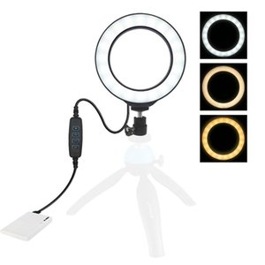 4.7 inch 12cm USB 3 Modes Dimmable LED Ring Vlogging Photography Video Lights with Cold Shoe Tripod Ball Head(Bla