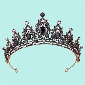 Hot Sale Bridal Crown Headdress Vintage Gold Black Diamond Halloween Headband Wedding Accessories In Stock Fast Shipping High Quality