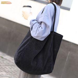 Fashion Women Vintage Corduroy Shoulder Bag Large Capacity Female Big Tote Handbag Folding Reusable Shopping Bags Fashion Cloth Bags