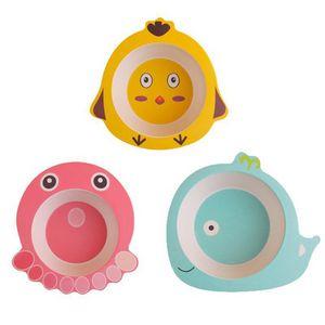 Creative Baby Bowl Animal Baby Dinnerware Bamboo Fiber Childrens Cartoon Baby Feeding Dishes Kids Tableware UPS