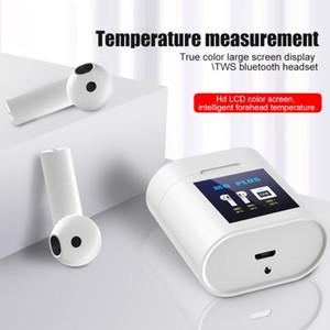 Neue M6 drahtlose Bluetooth-Kopfhörer TWS Touch Control Kopfhörer Ladebox-LCD-Bildschirm auf Körpertemperatur Earbud zu Messen