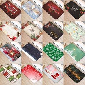 Portero de Navidad puerta de entrada impresa antideslizante Decoración para el hogar Coral Fleece Rug Bath Bath Bath Bath Non-antidesline Mats Carpet 48236
