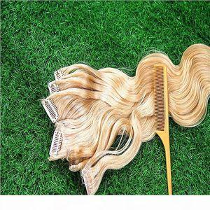 Blonde Body Wave 8A Clip en extensiones de cabello 100% Brasileño Remy Remy Hair 8 Piezas y 100 g Set