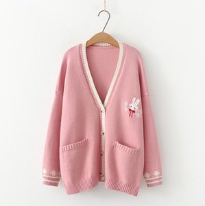 Autumn Mori Sweet Girl Lolita Beautiful Rabbit Embroidered Japanese Knitted Sweater Woman Long Cardigan Coat P1938 Mesh Fp6y