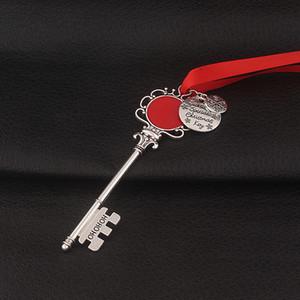 Snowflake Clé Chaîne Pendentif Décoration Magic Santa Claus Xmas Keychain Arbre Ornements Cadeaux Cadeau Collier DIY Collier Bijoux Party Props Gwe2117