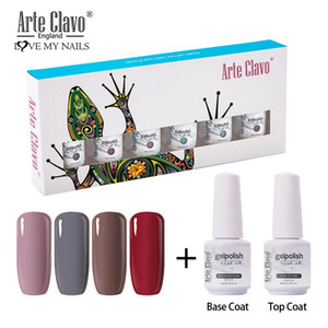 Arte Clavo Pure Color Nail Gel Polish 8ml 6pcs set Gel Polish Top Base Coat Gift Box Kit UV LED Soak Off Nail Art Manicure Set