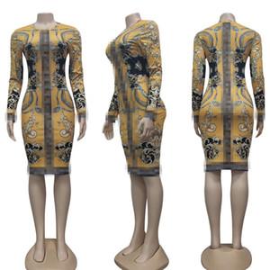 Европейская и американская писем печатание повседневные платья вечеринка женская мода сексуальная напечатанная стройное бедроное платье