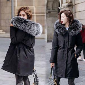 Vielleicht New Warm Fur Lining Long Parka Winter Jacket Women's Clothing Plus Size 6XL Medium Long Hooded Winter Coat Women 201106