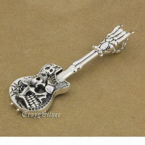 LINSION 925 Sterling Silver Hand Bone Skull Guitar Pendant Mens Biker Rock Punk Style 9M022 Just Pendant