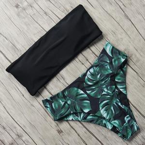 Print Swimwear Women Swimsuit High Waist Brazilian Bikini 2020 Sexy Off Shoulder Bikinis Set Beachwear Maillot De Bain Femme