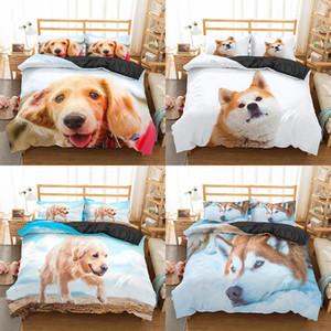 Homesky Dog Bedding 3D Set de luxe Housse de couette Reine King Size Belle Chiens Literie Linge de maison Housse de couette Couvre-lits 1012