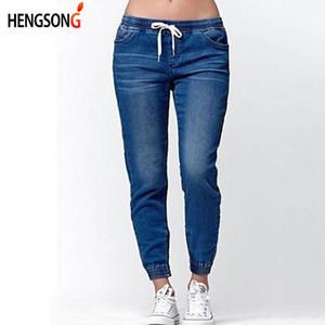 Hengsong 2020 New Women Fashion Casual Drawstring Jeans Women Summer Autumn Skinny Middle Waist Ladies Lantern Jeans