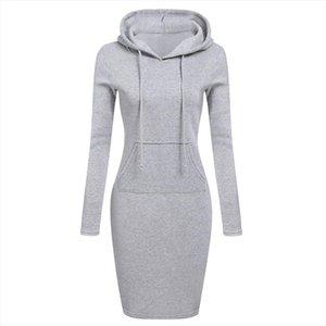 Women Pockets Pullover Svitshot 2020 Casual Hoodies Women Tracksuit Hoodies Sweatshirt Female Slim Hoody Dress
