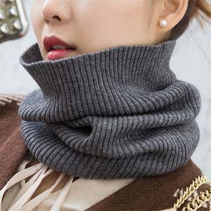 Sparsil кашемира женщин Knit кольцо шарфы 42сма Neck Warmer Solid Color Упругих Comfort Ложный Воротник Женская зимняя Один Петля шарф Y201007