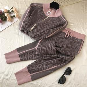 Осень Новых Женщин Геометрической Вязание Tracksuit Zipper кардиганы куртка + штаны зимнего женской Мода Дизайн 2pcs Спорт Набор TZ48 201007