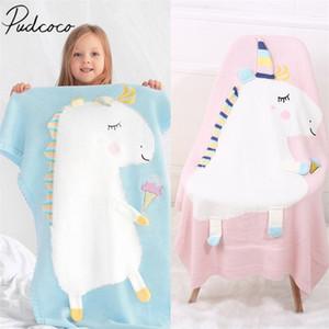 Brand New малышей Infant Новорожденного коляски раскладушка кровать Moses Basket шпаргалки Unicorn Knit Blanket мультфильм спальный мешок Y201001