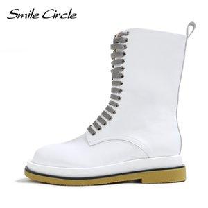 Lächeln Kreis echtes Leder Ankle Boots Frauen-Ebene-Plattformschuhe Autumn Fashion Lace-up Damen Short Boots C1023